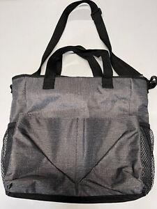 Thirty-One Crossbody Utility/Beach Tote Bag- Zipper Closure Messenger Charcoal