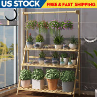 100cm 3 Tier Flower Pot Plant Stand Rack Wood Shelf Garden Indoor Outdoor