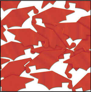 GRADUATION CAPS party TABLE CONFETTI DECORATIONS 1 pack  school colors RED
