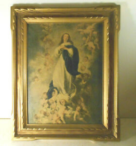 "antique Virgin Mary and Angels Religious wall Art-gold wood Frame 15"" print"