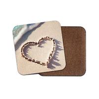 Cute Love Heart Coaster - Girlfriend Wedding Beach Sand Valentines Gift #8717