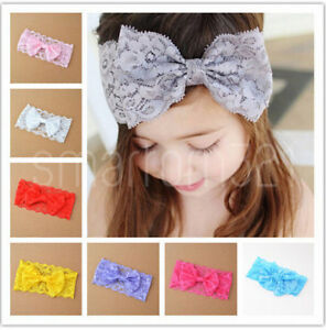 Baby Girls Soft Floral Lace Headband BOW Hair Accessories Elastic Band Toddler
