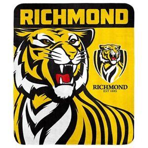 Richmond Tigers AFL Polar Fleece Throw Rug Blanket Mothers Birthday Gift