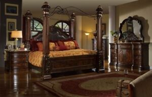 Mcferran B6002 Tuscan Rich Brown Solid Hardwood Eastern K Size Bedroom Set 5 Pcs