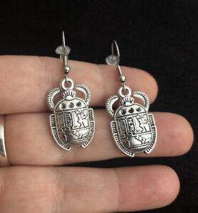 Egyptian Scarab Beetle Earrings Rah Protection Egyptian Charm Symbol Silver *UK*