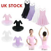 UK Kids Girls Lyrical Ballet Dance Tutu Dress Leotards Mesh Gymnastics Dancewear