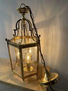 Beautiful NEW Polished Brass 3-Light Lantern Pendant