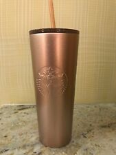 New 2018 Starbucks Stainless Steel TEXTURED ROSE GOLD Cold Cup Tumbler Mug 24 oz