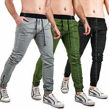 Pantaloni Uomo Cargo Chino Slim Fit Jogger Casual in Cotone Polsino con Zip