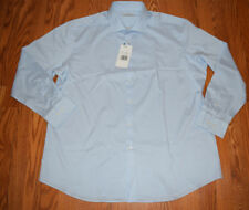 NWT Mens PERRY ELLIS Blue Striped L/S Travel Luxe Dress Shirt 18 34-35