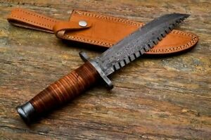 CUSTOM_MADE MARINES K BAR TYPE TACTICAL BOWIE SURVIVAL KNIFE with Leather Sheath