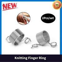 2Pcs Knitting Thimble Finger Ring Stainless Steel Spring Yarn Guide Crafts Tool