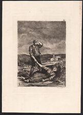 XIXe Gravure à l'eau-forte scène de genre cavalier assassinat