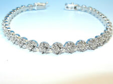 Nouveau! NOBLES BRACELET DE TENNIS 750 OR BLANC AVEC DIAMANTS 3,20 Carats