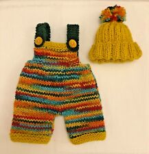 ++ TEDDY CLOTHES ++ new hand knitted dungarees & hat to suit a 12 inch bear