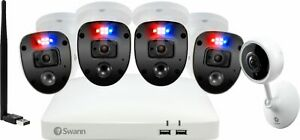 Swann - Enforcer 8-Channel, 4-Camera Indoor/Outdoor Wired 1080p 1TB DVR Surve...