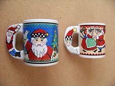 Two Santa Claus cross-stitch type design ceramic mugs coffee cups Christmas mug