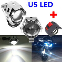 2pcs 125W U5 Motorcycle LED U5 Headlight Driving Fog Spot Lights Bulb & Switch