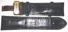NIP - RAYALTY GENUINE LEATHER / CROCODILE WATCH STRAP / BAND Black 24mm