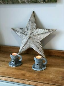 Industrial Tea Light Candle Holders; Scaffold, Weathered & Rustic (ONE PAIR)
