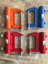 Umbrella Holder Metal C Clamp Colors Red, Blue, and Orange