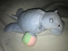 "North American Bear Hippo Blue Ball Pull Musical 15"" Baby lovey Toy Plush #1"