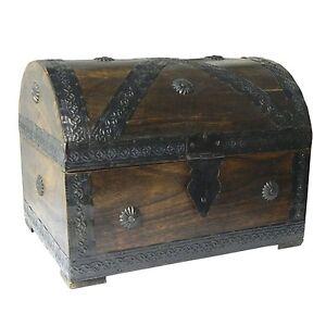 Pirate Chest/ Treasure Chest 28x21x21cm brown Wood Storage Box Antique Look