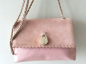 TED BAKER real leather and suede ladies small pink shoulder bag