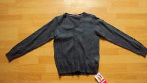 Marks & Spencer Girl's Cotton Cable Knit Grey School Uniform Cardigan 5-6 Years