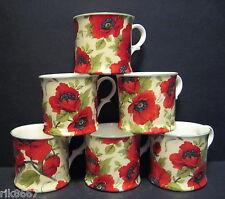 Set Of 6 Poppy C/B Small English Fine Bone China Mugs Cups By Milton China