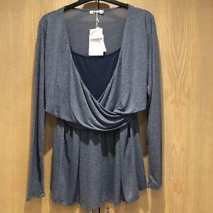 BNWT Colline Size UK18/20 Cross Front Maternity/ Nursing Grey Blue Long Sleeved