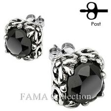 Fama Stainless Tribal Square Prong with Round Black Cz Stud Earrings