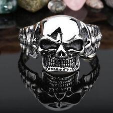 Huge & Heavy Men's Skull Head Stainless Steel Cuff Bangle Bracelet Biker Jewelry