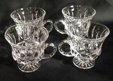 Gorham Crystal King Edward Cross-Hatch Vertical Cuts Footed Punch Cups Set Of 4