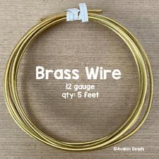 12 Gauge Brass Wire, 5 Feet