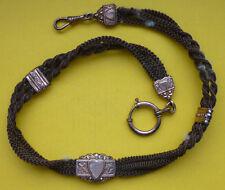 Antike Biedermeier Taschenuhrenkette, Uhrkette, Haar geflochten (1)