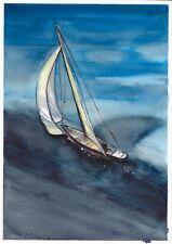 original drawing A4 326LM art samovar watercolor landscape Signed 2020