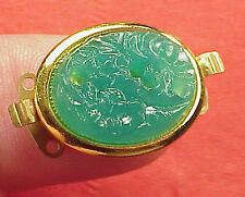 Vintage 21mm X 17mm Necklace Clasp Connector 2Str Carved Jade Glass Gold Plated