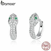 BAMOER Shine S925 Sterling Silver CZ Women Snake Stud Earrings Fashion Jewelry