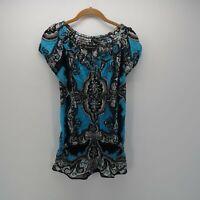 INC International Concepts Blue Black Paisley Off Shoulder Blouse Top Women's S