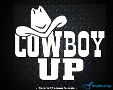 """Cowboy Up Rodeo Horse Country Car Decal / Laptop Sticker - WHITE 6"""""""