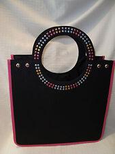 Pink Black Embellished & Lined Hard Sided Tote Bag NEW