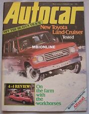 Autocar magazine 13/2/1982 featuring Ford GT70, Toyota Land Cruiser, Alfasud
