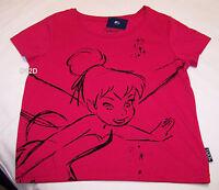 Disney Tinkerbell Ladies Pink Printed Short Sleeve Crop T Shirt Size M New