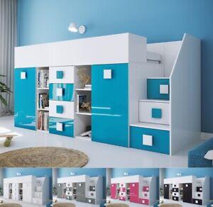Hochbett mit Schreibtisch Schrank Regalen Schubladen und Treppe TELLY3 hochglanz