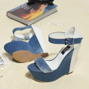 BY ALINA Keilabsatz Pumps Damenschuhe Wedges Jeans High Heels Plateau 38 #V30