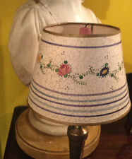 Antique French Hand Painted Parchment Lamp Shade. Early 1900s