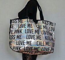 "VICTORIA'S SECRET PINK ""LOVE ME"" KISS ME"" CALL ME"" IRIDESCENT TOTE BAG LARGE"