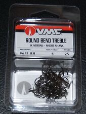VMC 9651 Short Shank Treble Hooks Size 4 - Pack of 25 9651BN-04 Black Nickel
