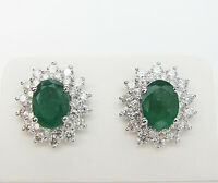3.50 CT Emerald and Diamond Earrings F SI1 in 18KT White Gold